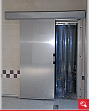 http://www.matchyra.pl-drzwi do chłodni nierdzewne przesuwne CP-1 z kurtyną chłodniczą PCV