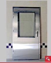 http://www.matchyra.pl-drzwi przemysłowe lekkie zawiasowe ZP-1 ze stali nierdzewnej gat. 1.4301 z szybą