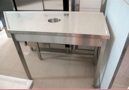 http://www.matchyra.pl - stol nierdzewny do zmywalni z otworem na odpadki gat. 1.4301