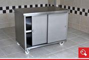 http://www.matchyra.pl- nierdzewny stół roboczy z szafką z drzwiami przesuwnymi, na kółkach