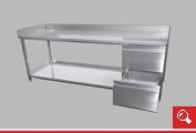 http://www.matchyra.pl - stół roboczy nierdzewny z dolną pólką dwoma szufladami i blatem z trzema rantami